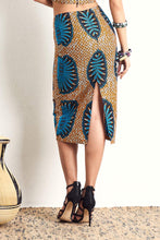 Hassana Blue Sheels PENCIL SKIRT OliveAnkara Ankara Wax Print