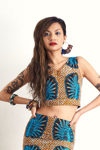 Hassana Blue Sheels Crop Top OliveAnkara Ankara Wax Print