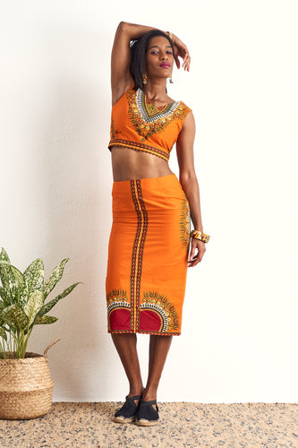 Hassana Dashiki Orange PENCIL SKIRT OliveAnkara Ankara Wax Print