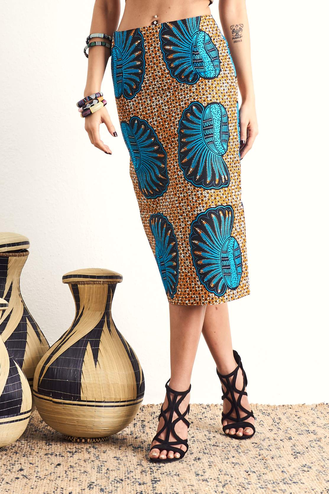 Hassana Blue Sheels Pencil Skirt