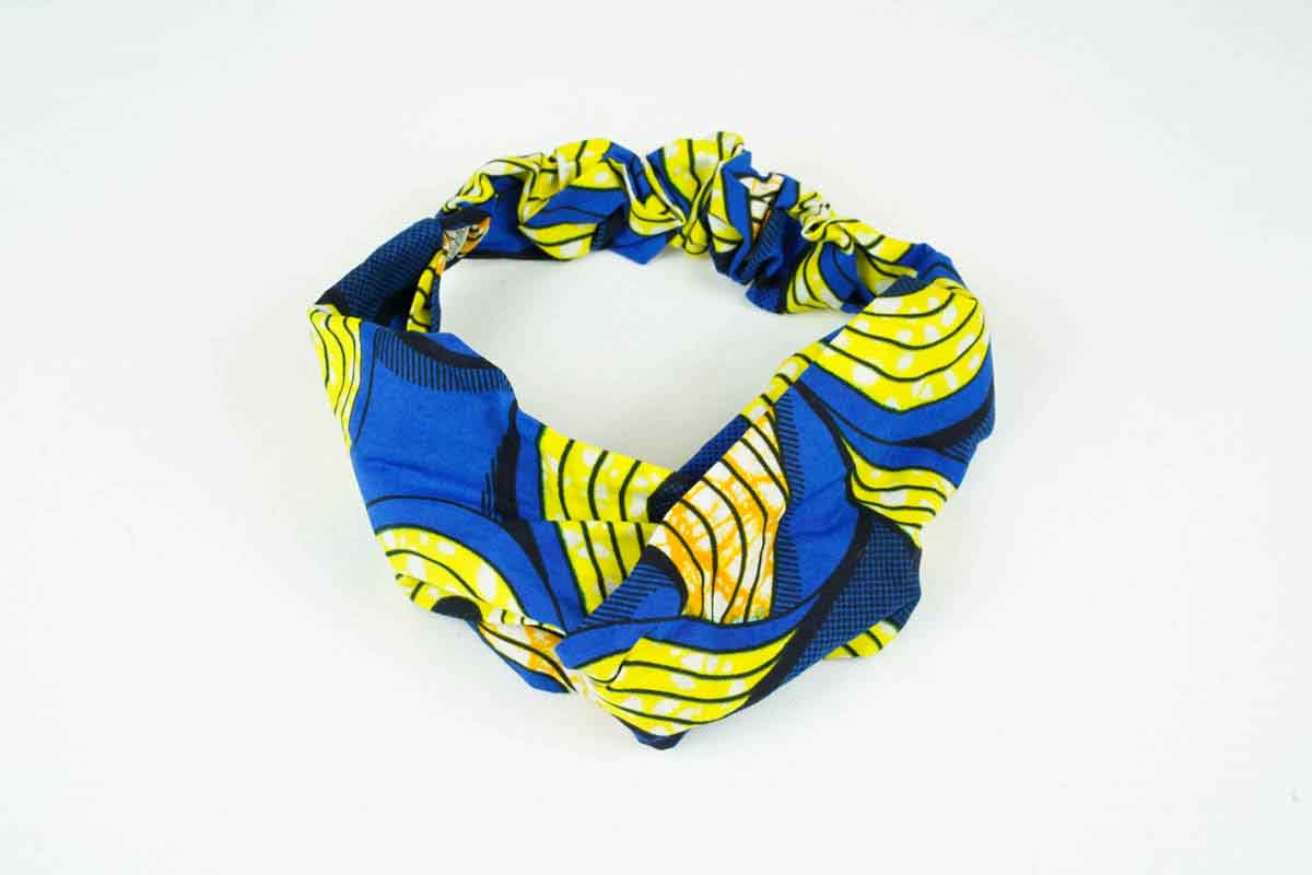 Sol Turban Headband - Blue/Yellow