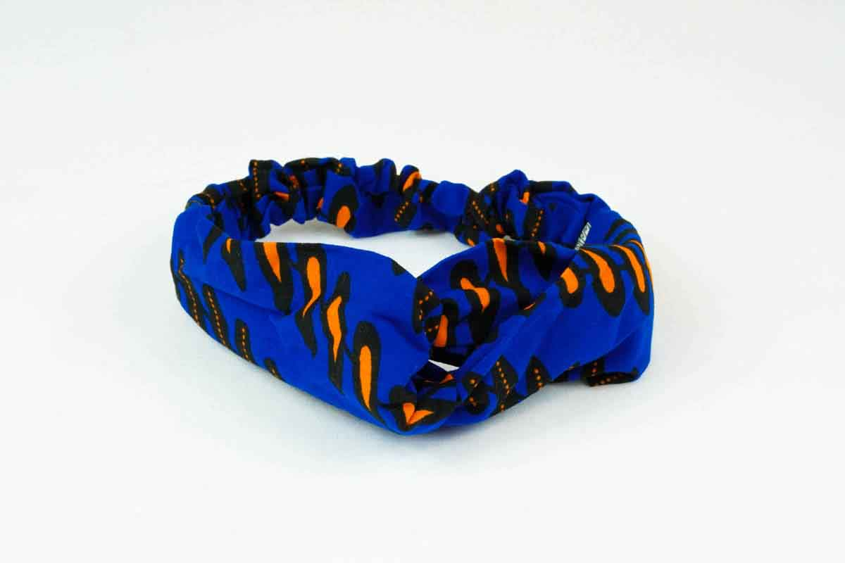 Femi Turban Headband - Blue/Orange