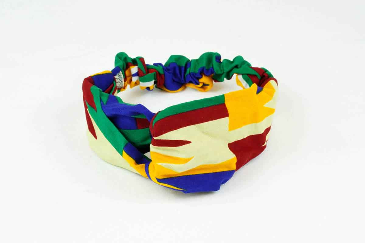 Kente Turban Headband - Yellow/Blue/Red