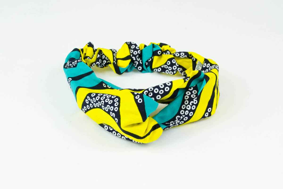 Ameerah Turban Headband - Yellow/Cyan