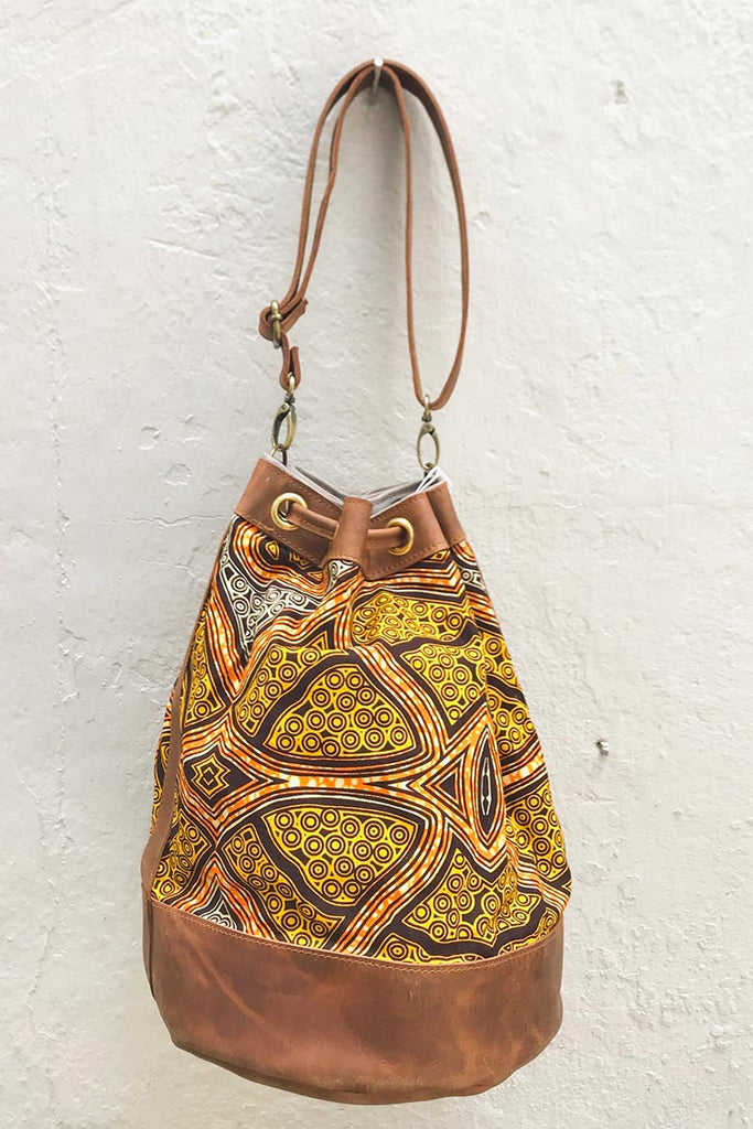 Bepu Yellow Inca Bucket bag