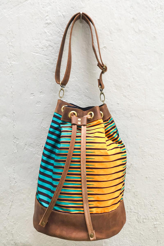 Bepu Teal & Orange Stripes Bucket bag