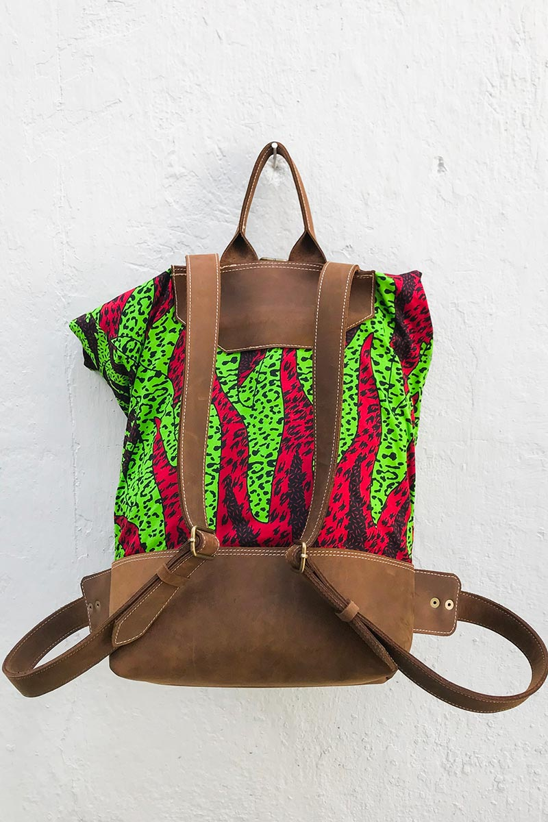 Bepu Green Red Sun Rolled Backpack