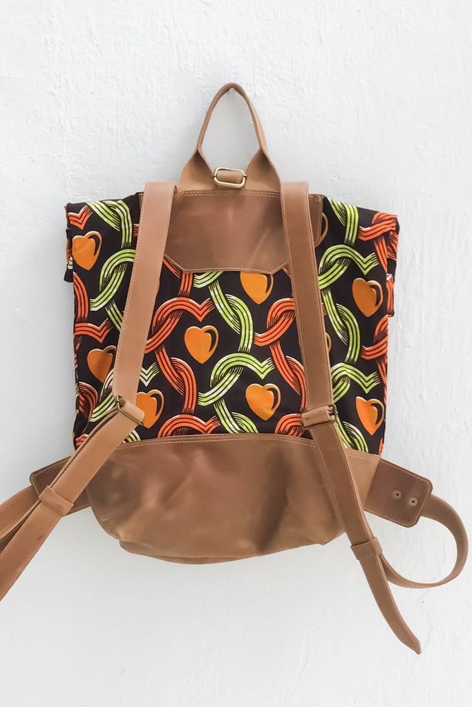 Bepu Green/Orange  Hearts Rolled Backpack