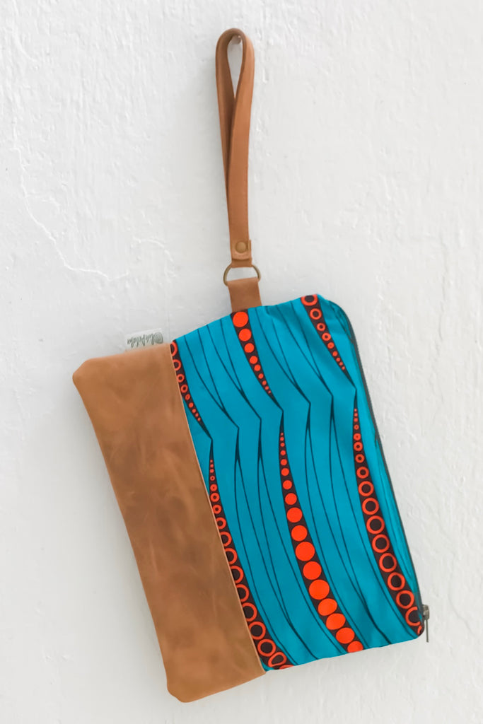 Bepu Chioma Blue/Orange Clutch Bag