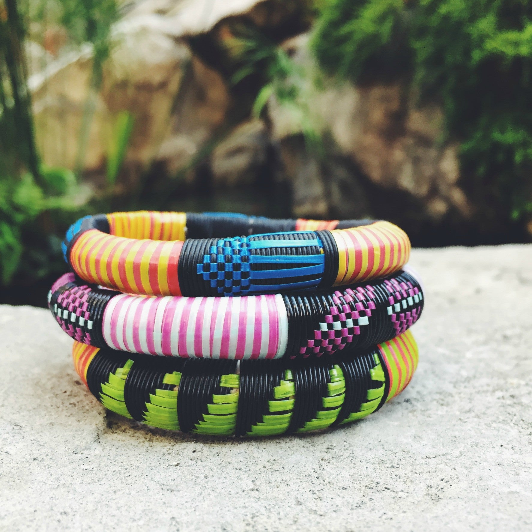 African Woven Bangles Set of 3