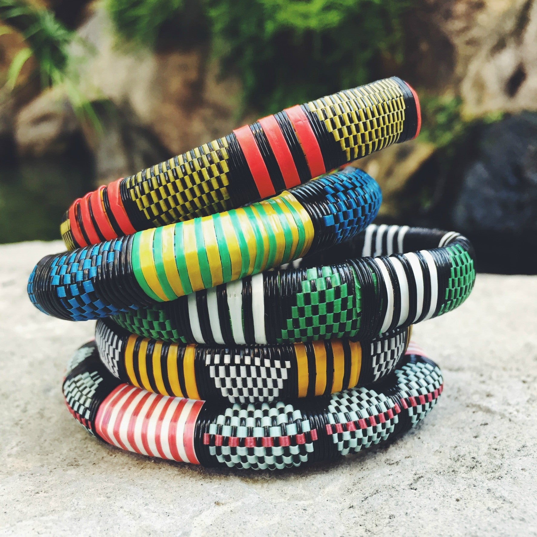 African Woven Bangles Set of 5