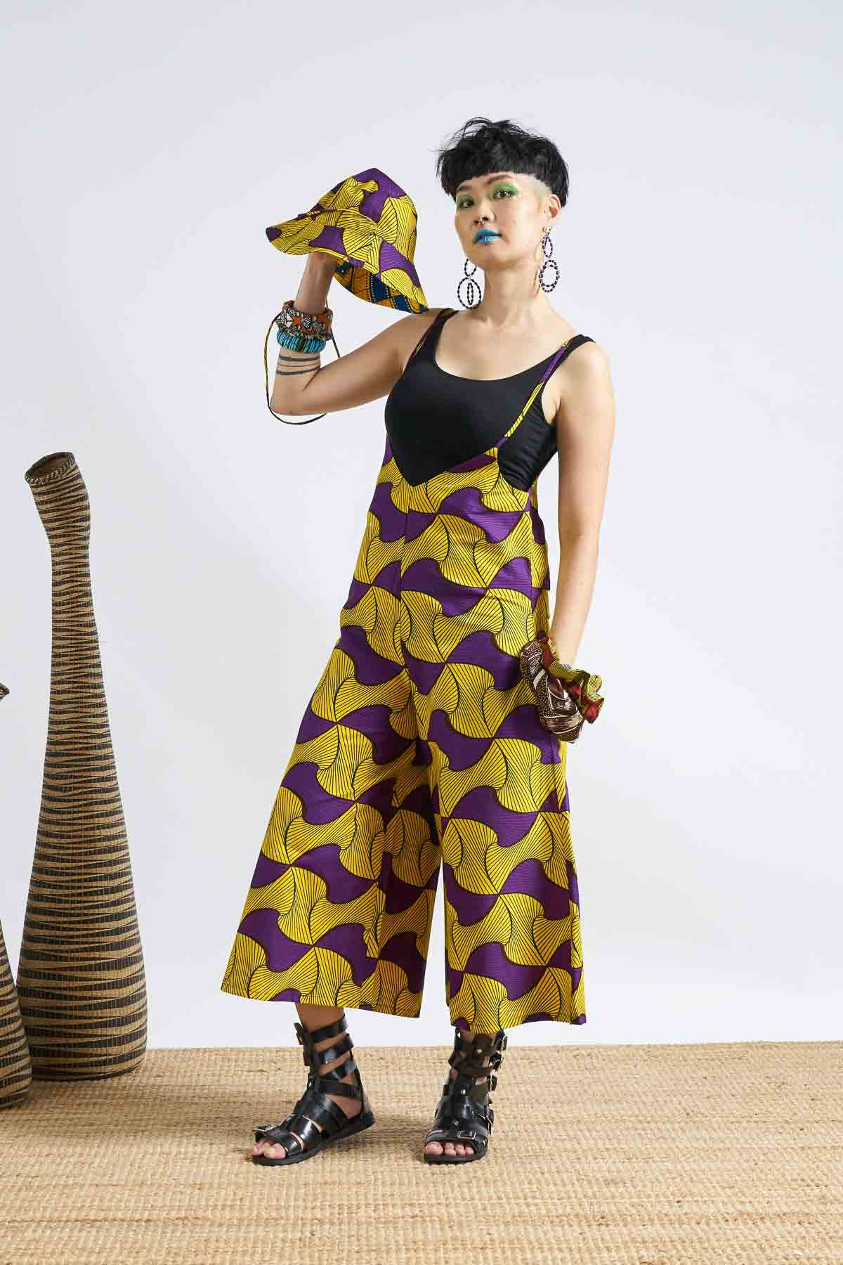 Ise Wide Leg Jumpsuit - Santana Yellow/Purple