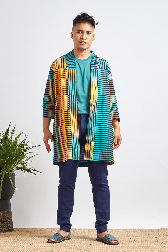 Karama Teal & Orange Stripes Unisex Afromono
