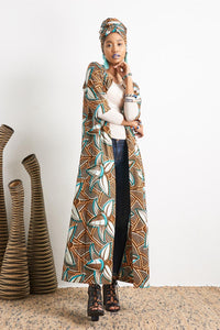 Kimi Coconut Duster Dress Ankara Wax Print OliveAnkara