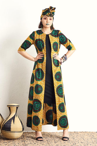 Kimi Yellow Duster Coat Ankara Wax Print OliveAnkara