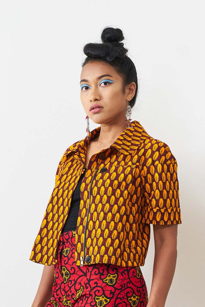 Lewa Crop Jacket - Cowry Print Red/Yellow
