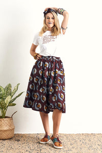 Machie Brown Skirt Ankara Wax Print OliveAnkara