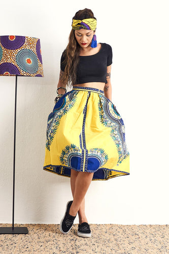 Machie Yellow Dashiki Skirt Ankara Wax Print OliveAnkara