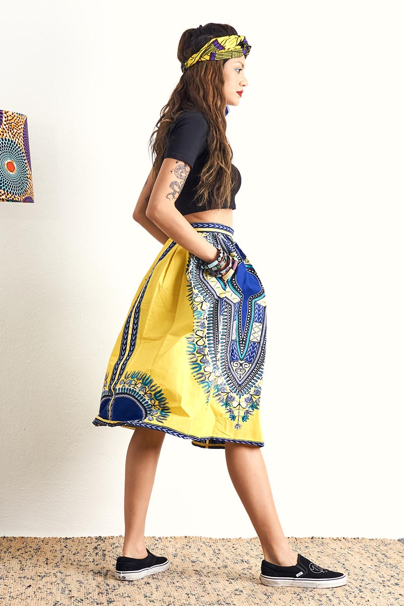 Machie Yellow Dashiki Skirt