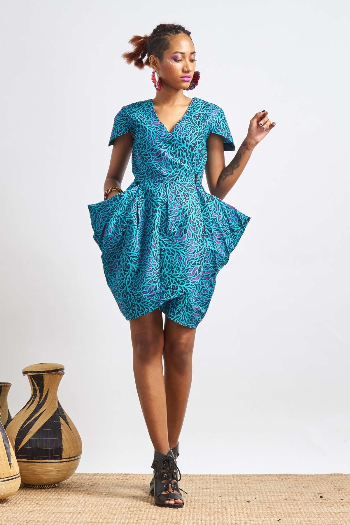 Maduenu Blue Big Pockets Dress