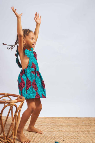 Ella Dress OA Kids Ankara Wax Print OliveAnkara