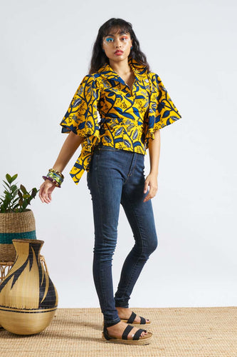 Winna Wrap Top Ankara Wax Print OliveAnkara