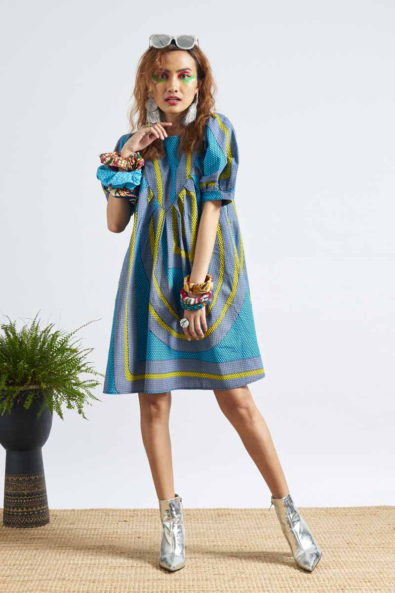 Zalo Dress Puffer Sleeves - Cyan & Yellow