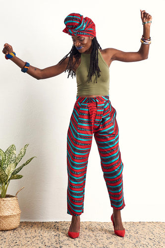 Ode Red & Blue Baggy Pants wax print Oliveankara
