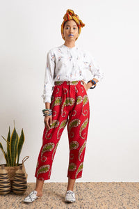 Ode Red Baggy Pants wax print Oliveankara