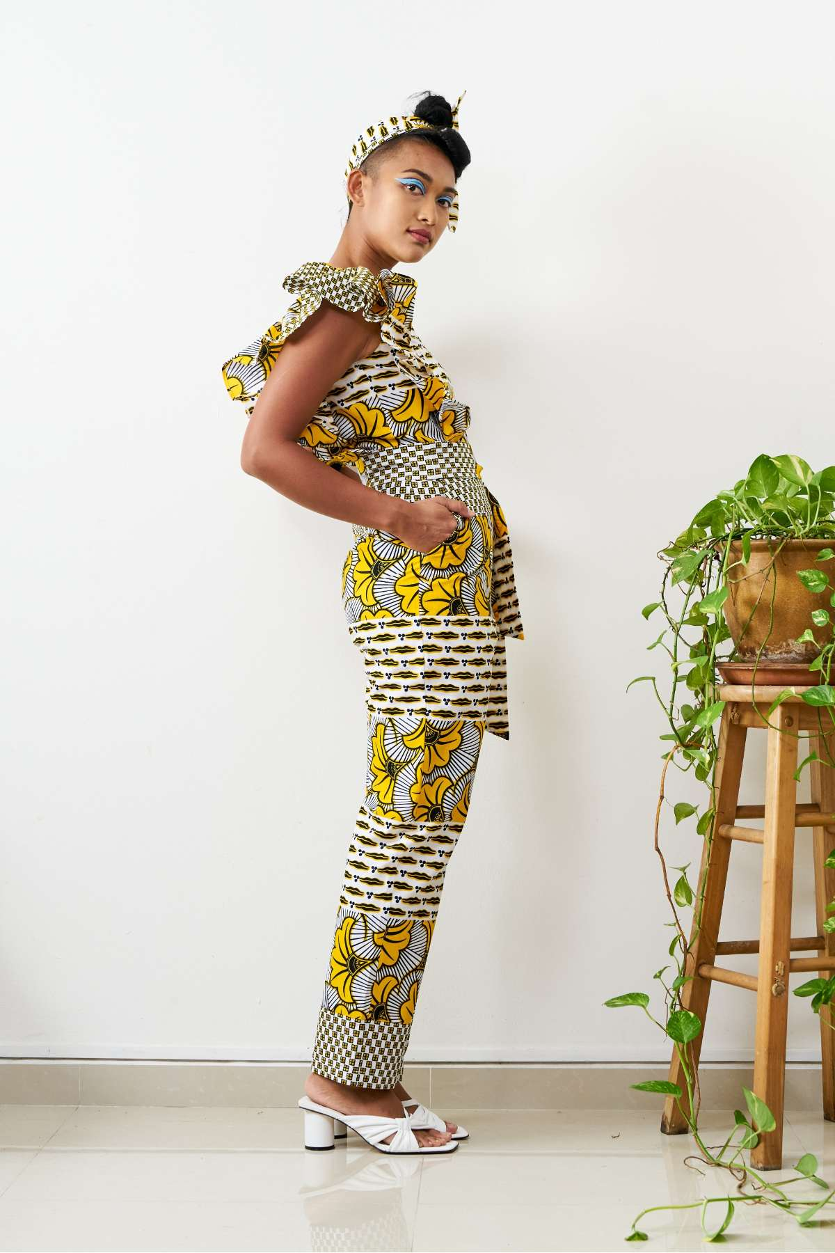 Oge Ruffle Sleeve Belted Jumpsuit - Yellow/White