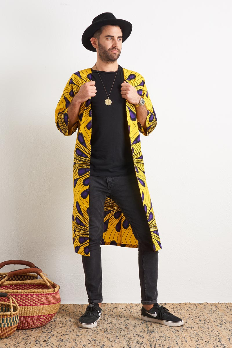 Olayemi Yellow & Purple Peacock Unisex Afromono