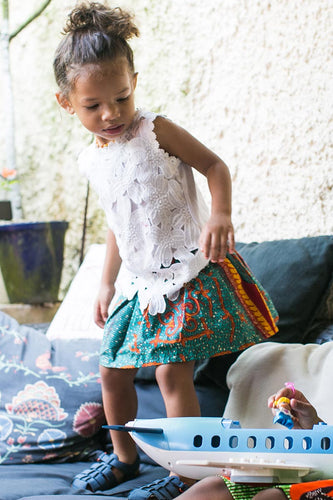 Mira Elasticated Skirt Green OA KIDS OLIVEANKARA