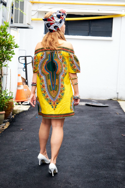 OliveAnkara Capsule Collection UMEALA Off Shoulder Dashiki Dress - Front