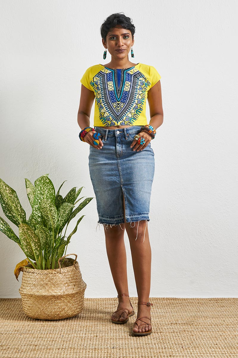 Olivia Yellow Dashiki Crop Top