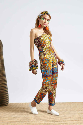 Onyeka One shoulder Jumpsuit Ankara Wax Print OliveAnkara