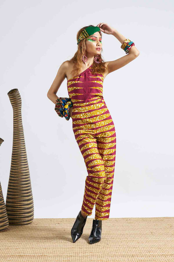 Onyeka One Shoulder Jumpsuit - Pink/Ochre