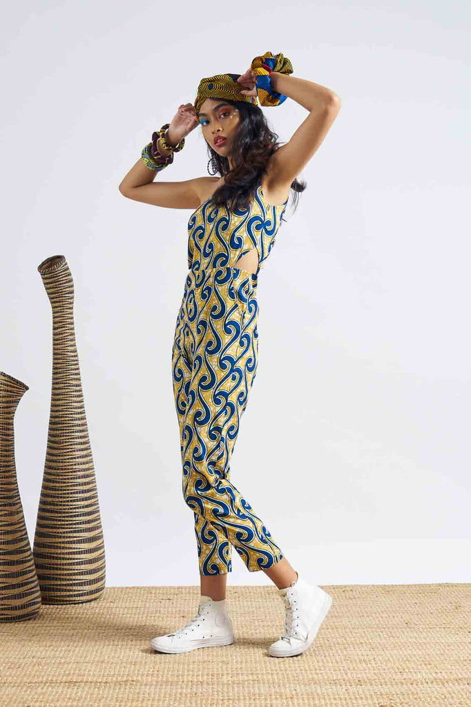 Onyeka One Shoulder Jumpsuit - Yellow/Blue