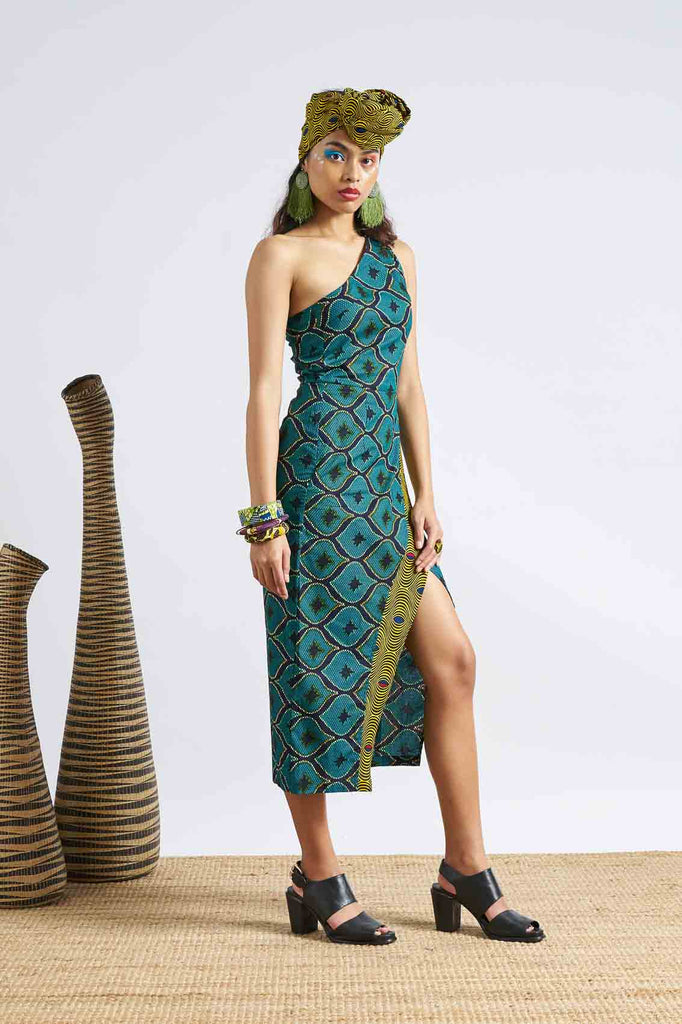 Pili One Shoulder Dress - Green/Yellow