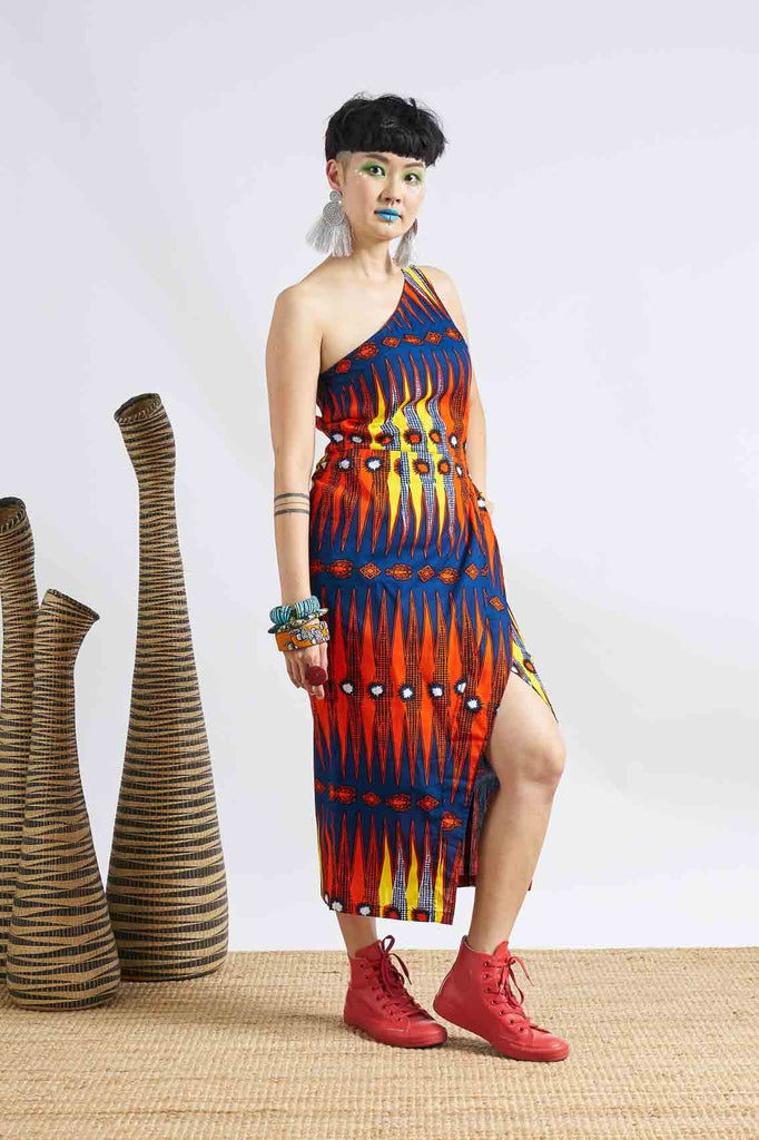 Pili One Shoulder Dress - Blue/Red/Yellow