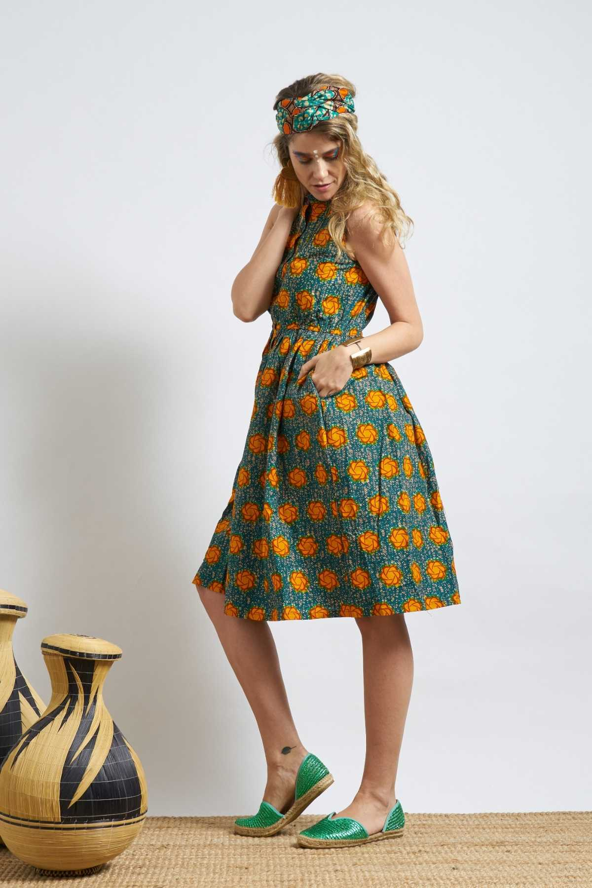 Rehema Dress - Fern Green & Orange