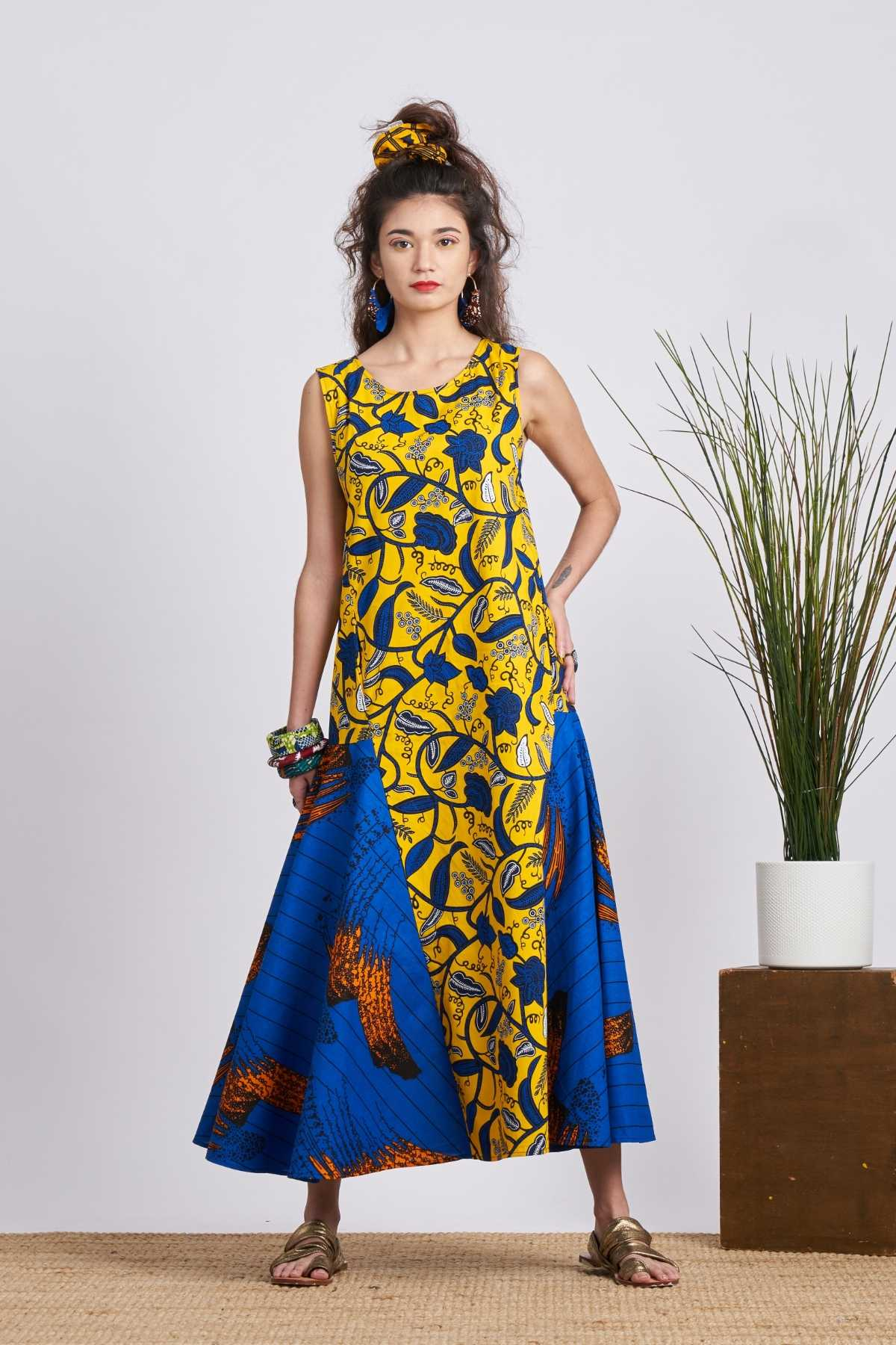 Shani Leaf Trail Maxi Dress - Yellow/Blue