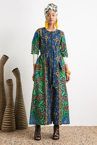 Shanumi Green Duster Dress Ankara Wax Print OliveAnkara