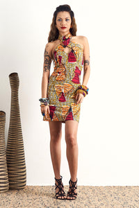 Sharmaine Ankara Cheongsam African dress Singapore OliveAnkara