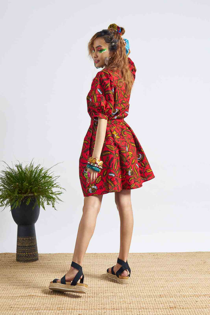 Zalo Dress Puffer Sleeves - Red