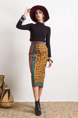 Zoya Pencil Skirt Ankara Wax Print OliveAnkara