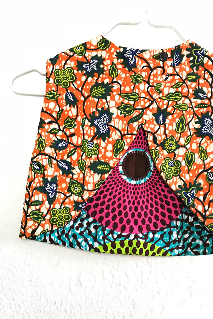 Noah Reversible Top Blue Circles & Orange