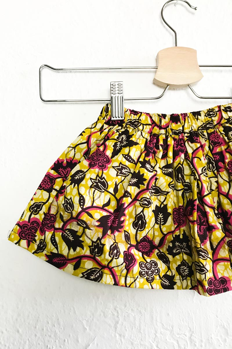 Mira Elasticated Skirt Yellow Pepper Leaf