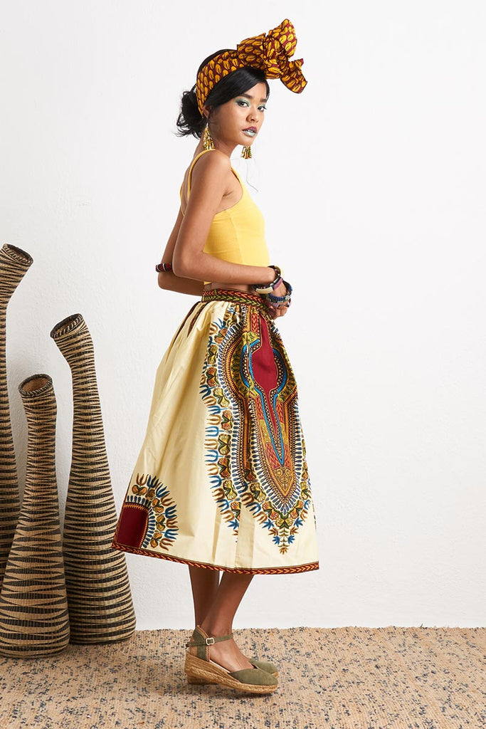 Machie Beige Dashiki Skirt