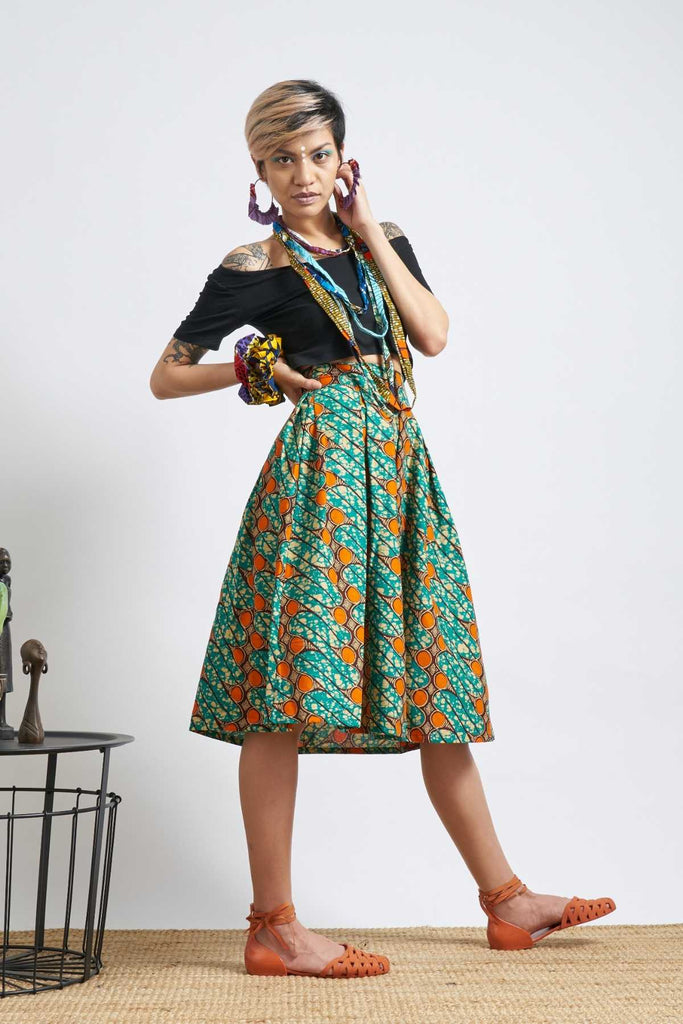Meria Skirt - Teal & Orange