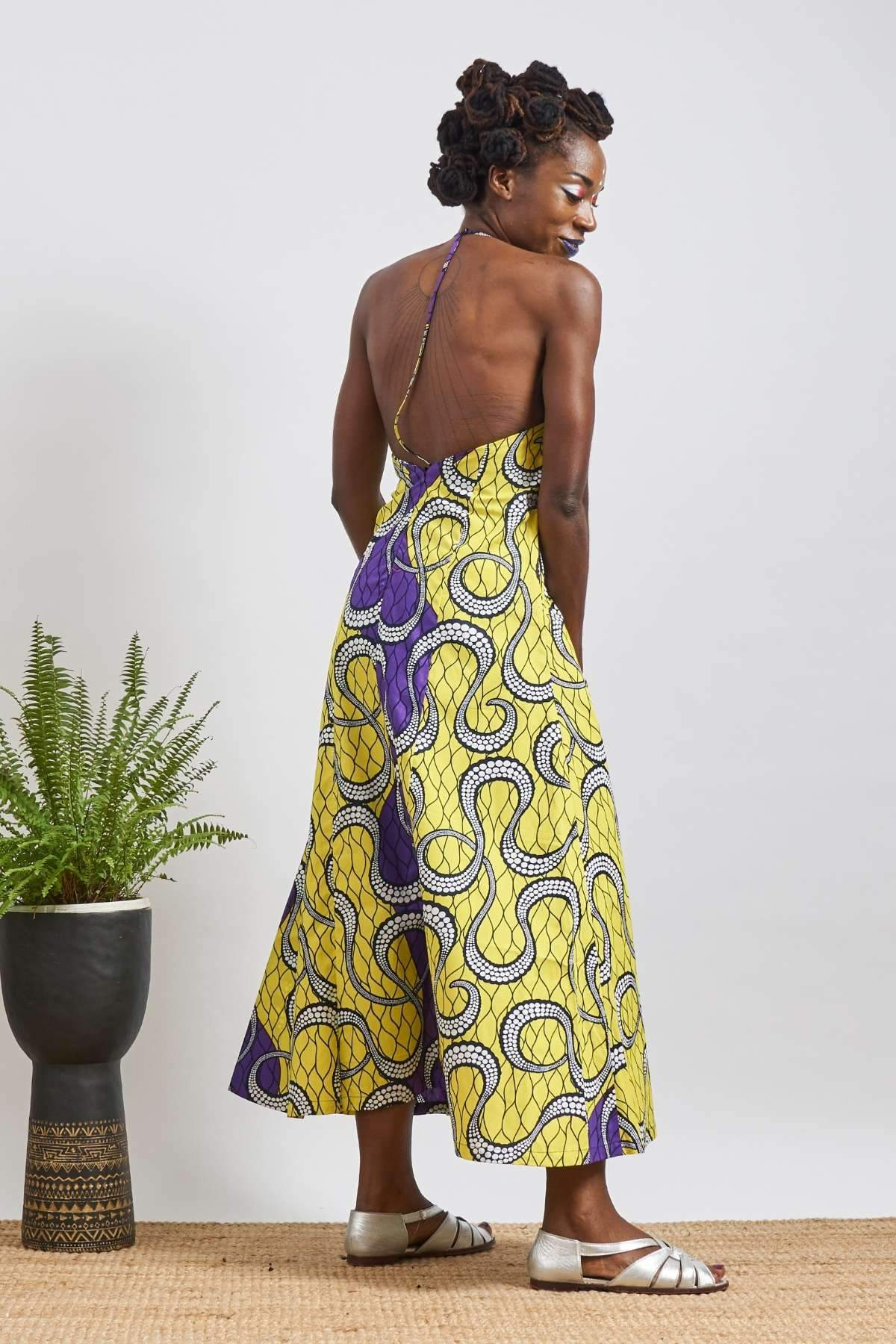 Chioma Yellow/Purple Open Back Dress